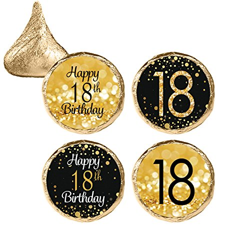 18th Birthday Party Favor Stickers - Gold and Black (324 Count)