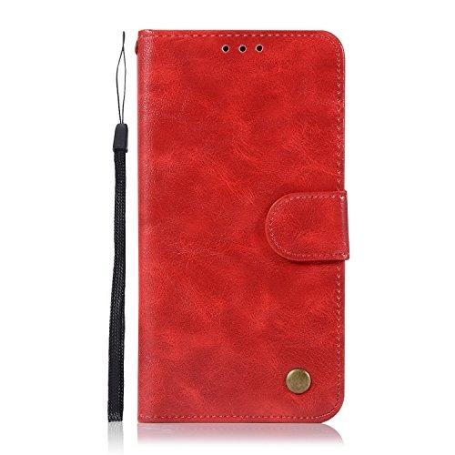 Funda iPhone 6s Plus, SsHhUuJ Funda PU Piel Genuino Carcasa en Folio [Ranuras para Tarjetas] [Cierre Magnetico] con Acollador para Apple iPhone 6 Plus / 6s Plus (5.5) - Negro Rojo