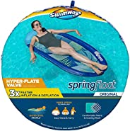SwimWays Spring Float Original Pool Lounge Chair with Hyper-Flate Valve, Blue Palm