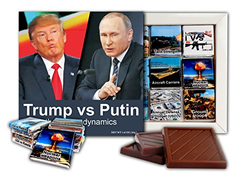 (DA CHOCOLATE Trump vs Putin The Power Dynamics Chocolate Gift Set Political candy Gag gift idea 9 dark chocolate pieces 5x5 inch Box (Interview))