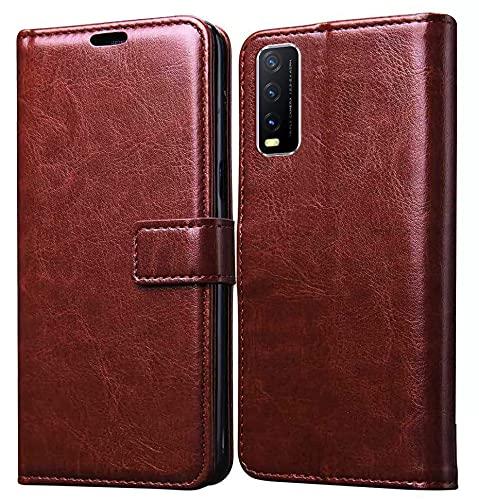 Jkobi Leather | Inner TPU | Foldable Stand | Wallet Card Slots Vintage Flip Cover Case for Vivo Y12s (Brown)