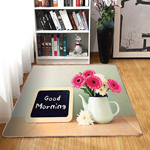 - Rug,Floor Mat Rug,Quote,Area Rug,Blackboard with The Phrase Good Morning Written on It Next to Vase with Fresh Flowers,Home mat6'6