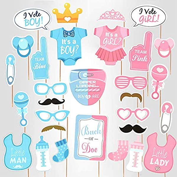 Amazon Com Baby Photo Booth Props Gender Reveal Party Boy Or Girl Shower Birthday Party Kitchen Dining