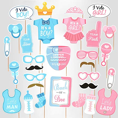 Baby Photo Booth Props (Baby Photo Booth Props Gender Reveal Party Boy or Girl Shower Birthday)