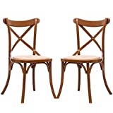 Costway Cross Back Dining Chairs Set of 2 Solid Wooden Frame Antique Style Side Chairs for Kitchen Rooms with Rattan Seat (Oak)