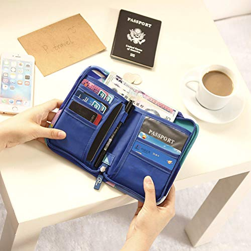 RFID Blocking Passport Holder 5 Slots Geometry Triangle Theft Proof Leather Wallet for Men /& Women