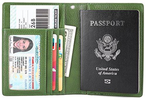 Passport Wallet Holder Cover Case Id Window Travel Wallet With Rfid Blocking   Green