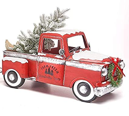 members mark red classic vintage holiday truck with white and colored lights indooroutdoor