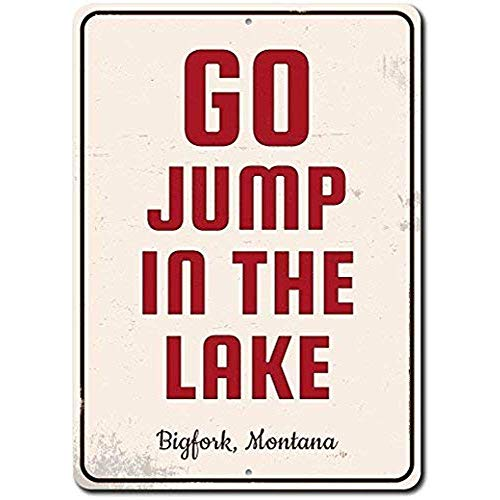 TGDB Go Jump in The Lake Sign Custom Lake Lover Gift Personalized Lake Location Name Metal Cabin Home Decor Quality Aluminum Sign