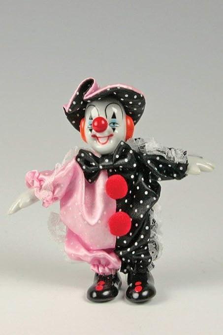 868eaf8fe36bb Clown Figurine Pink & Black With Polka-Dots Posable/Porcelain 6 Inch