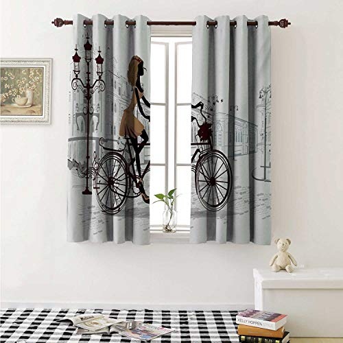 shenglv Teen Room Customized Curtains Young Girl in Paris Streets with Bicycle French Style Display Curtains for Kitchen Windows W63 x L45 Inch Chestnut and Pale Brown Pearl