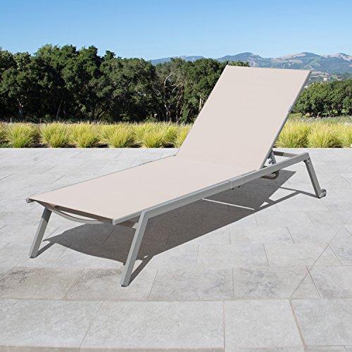 (Corvus Torino Adjustable Sling Fabric Patio Chaise Lounge beige - 1 lounge)