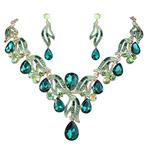 Floral Pendant Necklace Set - BriLove Women's Bohemian Boho Bridal Crystal Flower Teardrop Statement Necklace Dangle Earrings Set Gold-Tone Emerald Color