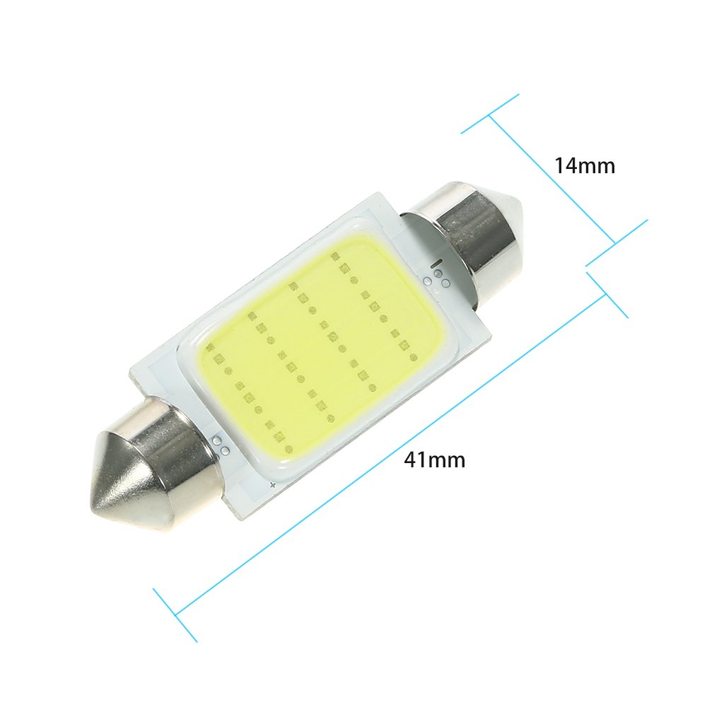 KKmoon 10Pcs Festoon 36mm C5W COB LED Bianco Interno SMD Lampadina Car Light Source Lampada da Lettura