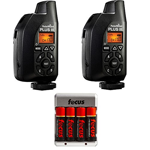 PocketWizard 801-130 Plus III Transceiver Set of 2, with Rechargeable AA Batteries by PocketWizard