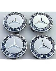 4 x originele Mercedes Benz wieldop laurierkrans blauwe dop dop naafdop wielnaafafdekking wielnaafdop sierdeksel blauw A1714000125 5337 ster met laurierkrans HUB CAP E-Klasse C-Klasse CL CLS SLK ML GLK A-Klasse B-Klasse W204 W210 W221 W220 C209 W207 W246 Diameter: 75mm