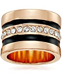 """GUESS""""Basic"""" Jet and Gold Wide Band with Enamel and Stones Ring, Size 8"""