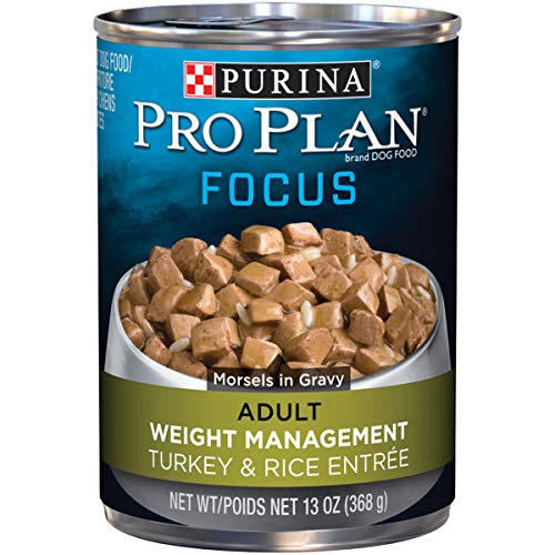 Purina Pro Plan Low Fat, Weight Management Gravy Wet Dog Food; FOCUS Weight Management Turkey & Rice Entree - 13 oz. Can (Pack of 12)