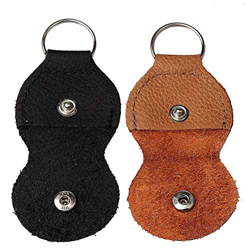 Guitar Pick holder Keychain Case,Black & Brown,Pack of 2