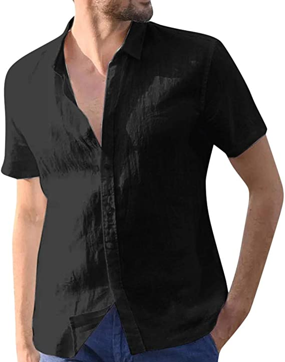 Summer Men/'s Cotton Linen Shirts Tops Short Sleeve Casual Loose Baggy Blouse UK