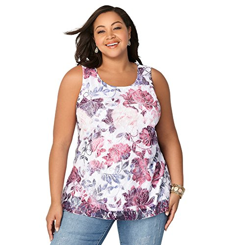 Rhinestone Print Floral (Avenue Women's Floral Lace Rhinestone Tank, 22/24 Pink Print)