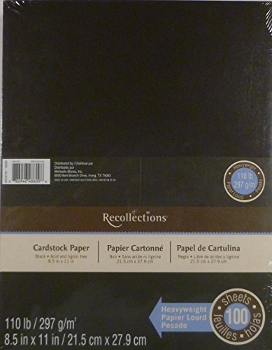 Recollections Black Heavyweight Cardstock Paper, 8.5'' X 11'' - 100 Sheets by Recollections