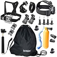 Action Camera Accessories Kit for AKASO EK7000/Gopro Hero 5 4+ 3 2 1 Silver Black; SJCAM SJ4000 SJ5000 SJ6000/MGcool Explorer-Pro 4K/Lightdow/DBPOWER