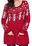 Jaycargogo Women's Christmas Print Long Sleeve Tunic Pullover Sweater Dress Red L