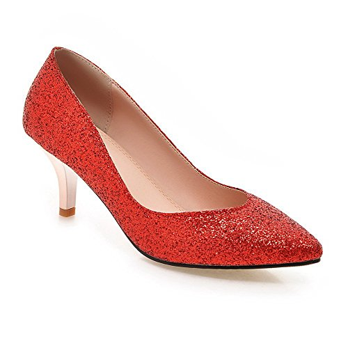 AllhqFashion Womens Pull-On Sequins Pointed Closed Toe Kitten-Heels Solid Pumps-Shoes Red uGYb12YS