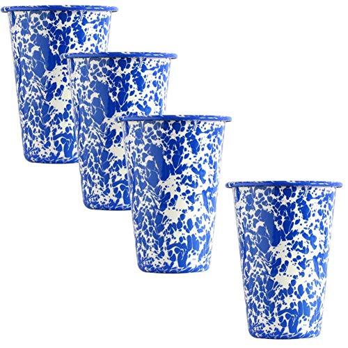 Enamelware Tumbler, 14 ounce, Blue/White Splatter (4)