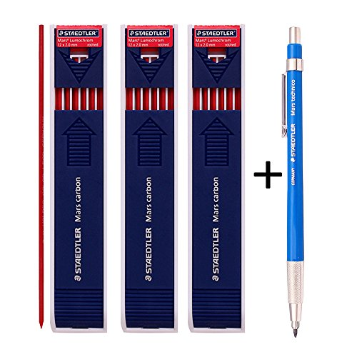 Staedtler Mars Technico 780C Mechanical Lead holder,clutch Pencil Mars Carbon 2mm Drafting Pencil (Lead Holder 1 Pencil +Carbon Leads RED 3 (780c Lead Holder)