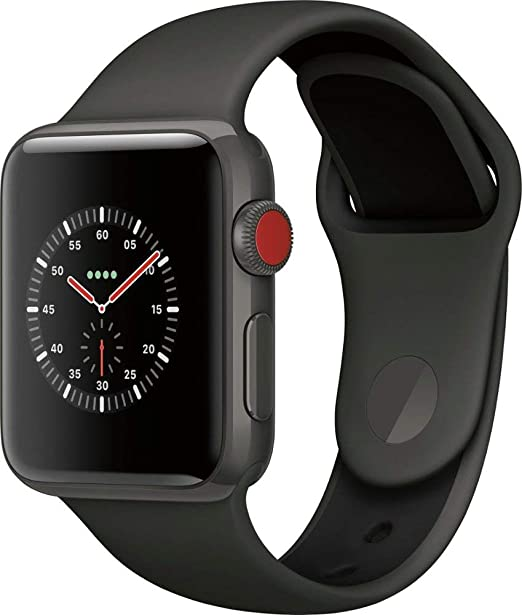 Apple Watch Series 3 38mm Smartwatch (GPS + Cellular, Space Gray Ceramic Case, Black Sport Band) (Renewed)