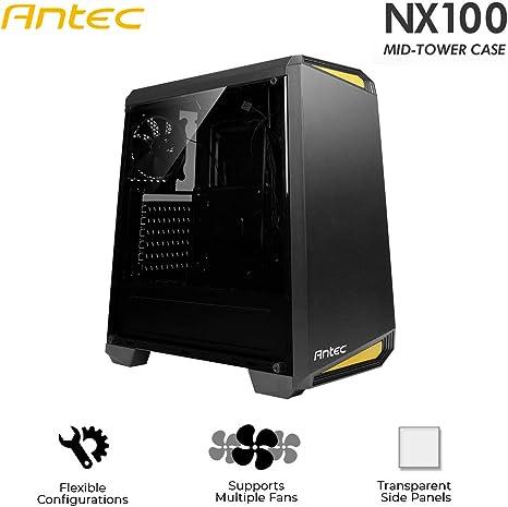 Antec NX100 Midi ATX Tower Negro, Amarillo - Caja de Ordenador (Midi ATX Tower, PC, De plástico, SGCC, Negro, Amarillo, ATX,Micro ATX,Mini-ITX, 35 cm): Antec: Amazon.es: Informática