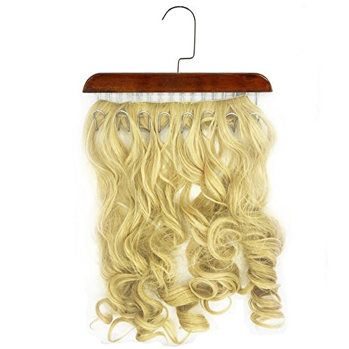 Hair Extension Hanger-Lightweight, Waterproof and Portable, Multi-functional Hanger, Hair Extension Storage, Hair Extension Holder suitable for All Kinds of Hair Extensions, Wigs and Clips (brown)