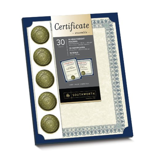 Southworth Certificate Kit Ensemble,24 Pounds, Ivory, 10/10/10 Count (Paper Certificate Holder)