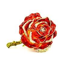 Rose Flower Trinket Box, Hand Set Swarovski Crystal, Hand Painted Red Enamel Over Pewter, Inside of Box with Lovely Enamel, L 3.00 X 2.00 X 2.50