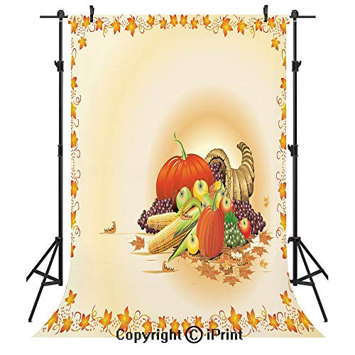 Harvest Photography Backdrops,Maple Tree Frame with Rustic Composition for Thanksgiving Halloween Dinner Food,Birthday Party Seamless Photo Studio Booth Background Banner 3x5ft,Multicolor -