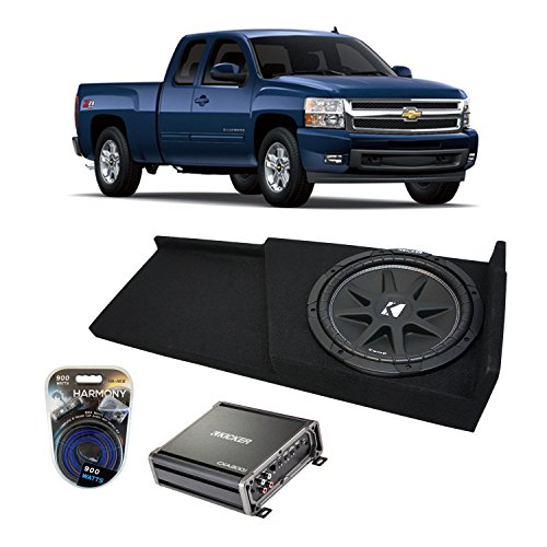 Kicker Fits 2007-2013 Chevy Silverado Ext Cab Truck Kicker Comp C12 Single 12 Sub Box Enclosure & CXA300.1 (Renewed)