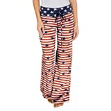 Palazzo Pants, Womens USA American Flag Drawstring Wide Leg Pant Lounge Flare Trousers (Patriotic, L)