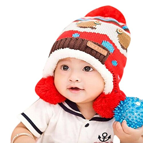 TAORE Toddler Baby Winter Beanie Warm Hat Hooded Scarf Earflap