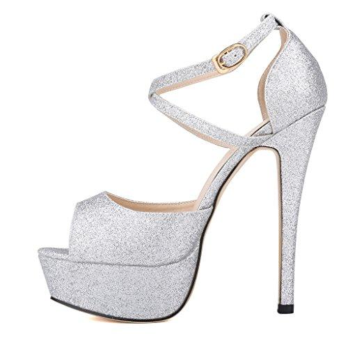 b235f66dc22 ZriEy Women Sandals 14CM/5.5 inches High-Heeled Peep Toe Platform ...