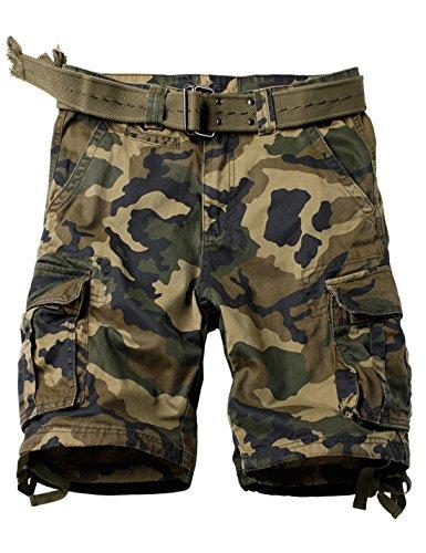 Woodland Camouflage Shorts - HUPOO Men's Expandable Multi Pockets Outdoor Cotton Cargo Shorts Docker (Woodland-Camouflage, X-Large)