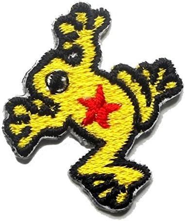 【ノーブランド品】アイロンワッペン ミニワッペン ワッペン 刺繍ワッペン カエル かえる 蛙 アイロンで貼れるワッペン