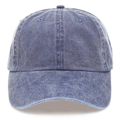 MIRMARU Low Profile Vintage Washed Pigment Dyed 100% Cotton Adjustable Baseball Cap Hat.(Blue) Pigment Cap