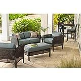 Hampton Bay Outdoor Patio Furniture Set | Fenton 4-piece Patio Seating Set with Peacock Java Patio Cushion