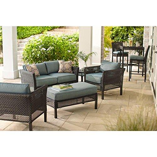 Hampton Bay Outdoor Patio Furniture Set | Fenton 4-piece Patio Seating Set with Peacock Java Patio Cushion (Set Patio Hampton Cushions Bay)