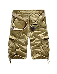 "WSLCN Men's Retro Baggy Twill Cargo Shorts Cotton Casual Shorts Loose Relaxed Summer Cargo Shorts Multi Pockets Waist 36.6"" Khaki"