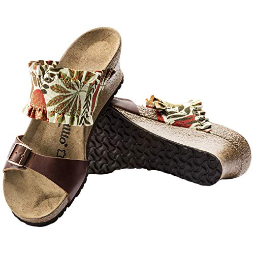 Flower Stretch Leather Frill Sandalias Brown Mujer Papillio Della natural TY6q1