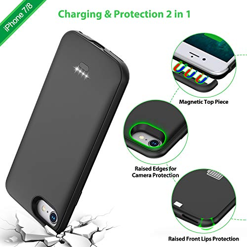 Battery Case for iPhone 7/8, 4000mAh Portable Protective Charging Case Compatible with iPhone 7/8 (4.7 inch) Rechargeable Extended Battery Charger Case (Black) by Lonlif (Image #5)