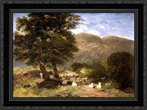 (Tending Sheep, Betws-y-Coed 24x18 Black Ornate Wood Framed Canvas Art by David Cox)